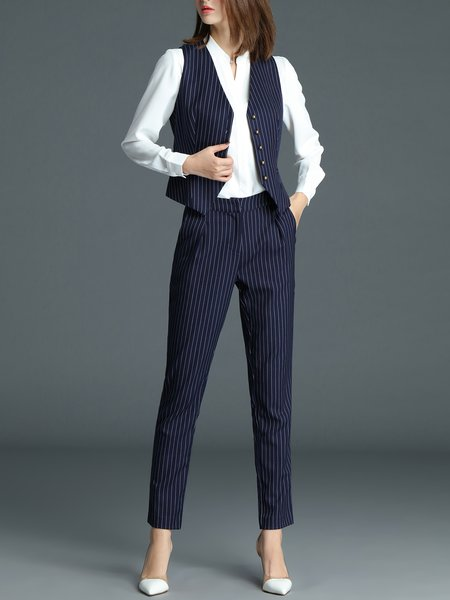 Navy Blue Sleeveless Stripes V Neck Buttoned Suits And Separate