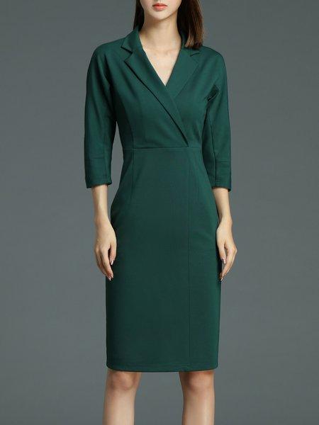 Dark Green Slit Lapel Sheath Plain 3/4 Sleeve Midi Dress