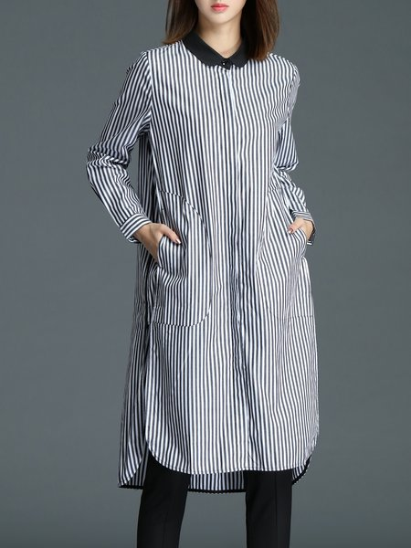White Shirt Collar Stripes Elegant Shirt Dress