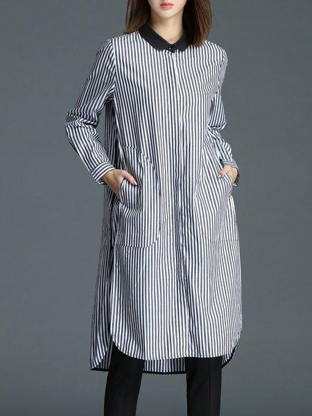 White Shirt Collar Stripes Elegant Shirt Dress