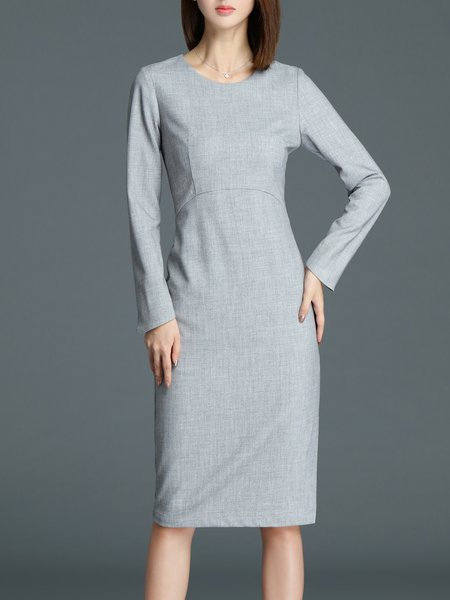 Gray Slit Elegant Crew Neck Midi Dress