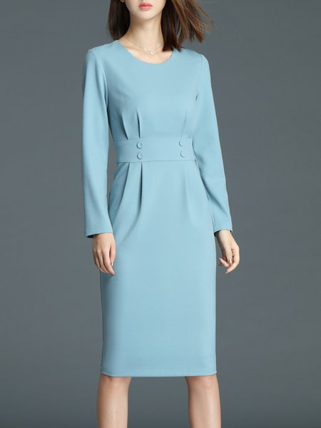 Blue Crew Neck Elegant Folds Sheath Plain Midi Dress