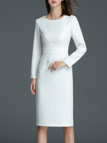 White Long Sleeve Slit Crew Neck Midi Dress