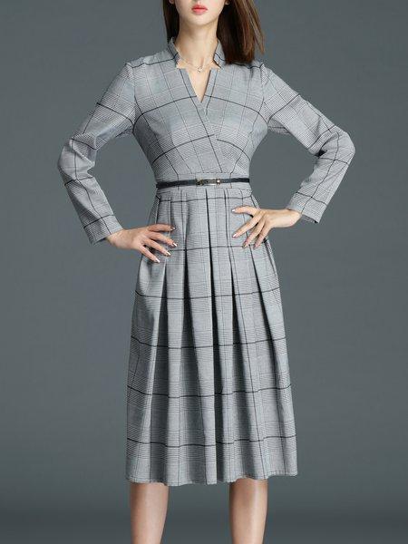Gray A-line Elegant Checkered/Plaid Folds Midi Dress