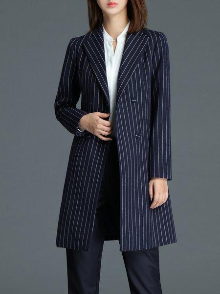Dark Blue A-line Stripes Lapel Long Sleeve Coat