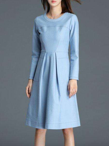 Long Sleeve Folds Pockerts A-line Simple Crew Neck Midi Dress