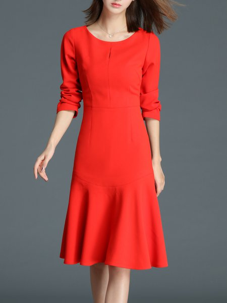 Simple Flounce Solid Long Sleeve Midi Dress