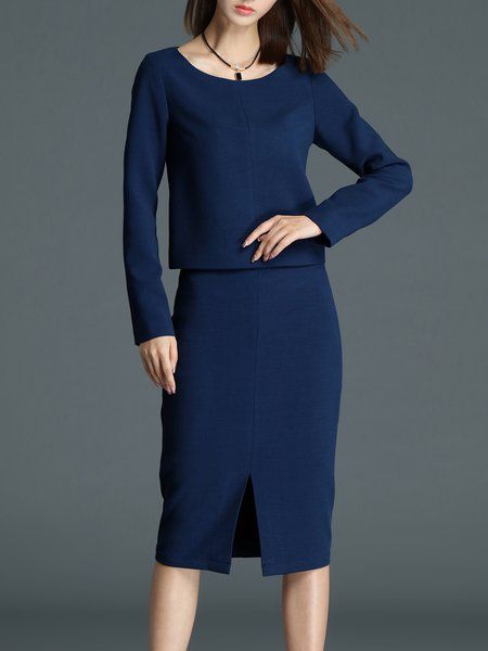 Dark Blue Elegant Slit Two Piece Midi Dress