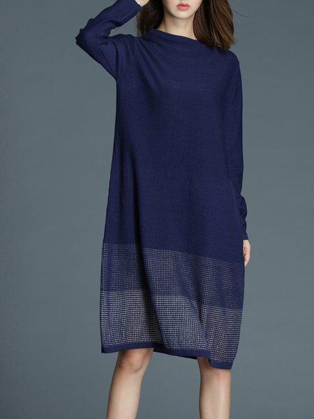 Navy Blue Stand Collar Simple Wool Blend Midi Dress