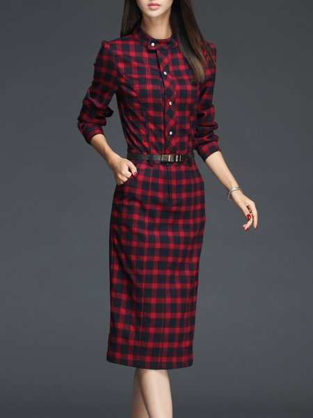 Red Sheath Elegant Checkered/Plaid Midi Dress