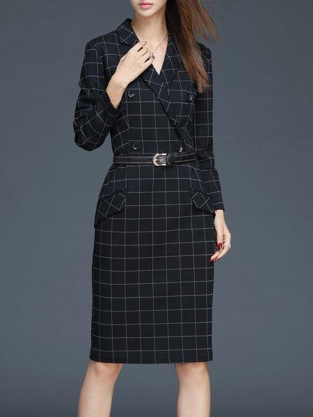Checkered/Plaid Lapel Elegant Sheath Long Sleeve Midi Dress