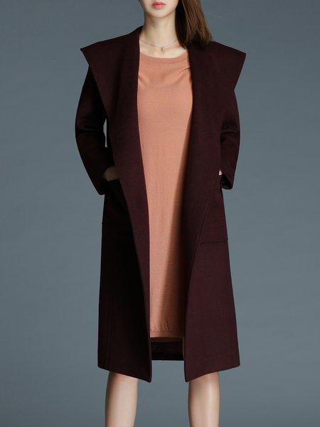 Hoodie Slit Casual Solid Coat