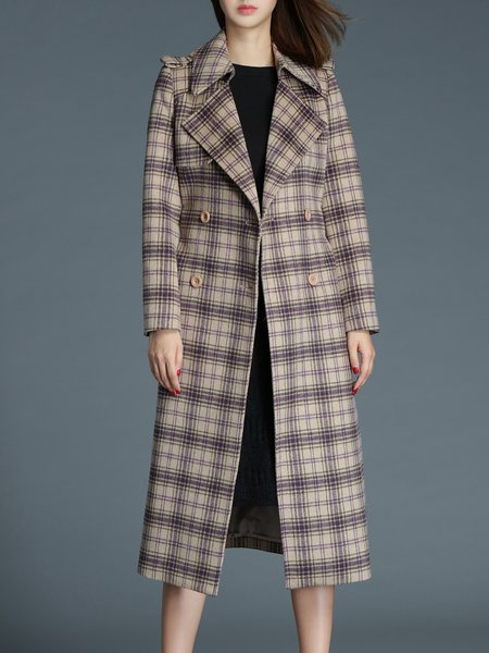 Checkered/Plaid Elegant Buttoned Lapel Trench Coat