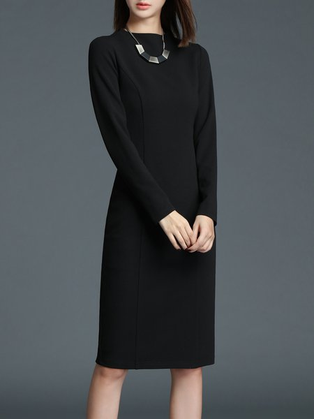 Black Long Sleeve Sheath Solid Midi Dress
