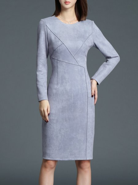 Gray Sheath Elegant Midi Dress