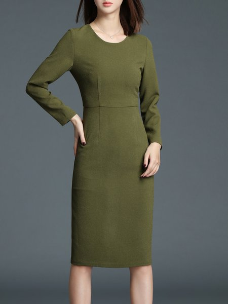 Army Green Crew Neck Sheath Long Sleeve Midi Dress
