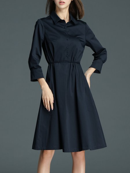 Navy Blue 3/4 Sleeve Cotton Shirt Collar A-line Shirt Dress