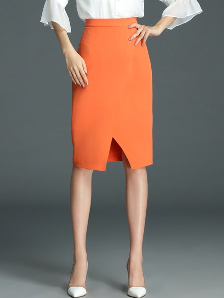 Orange Work Plain Polyester Midi Skirt