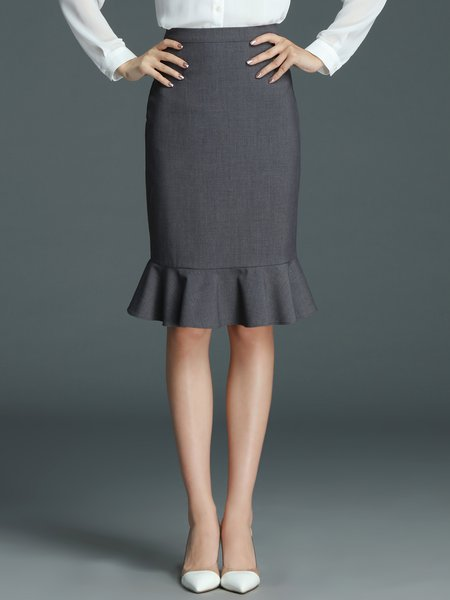Gray Polyester Sheath Work Midi Skirt