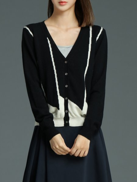 Black Long Sleeve Plain Color-block H-line Cardigan