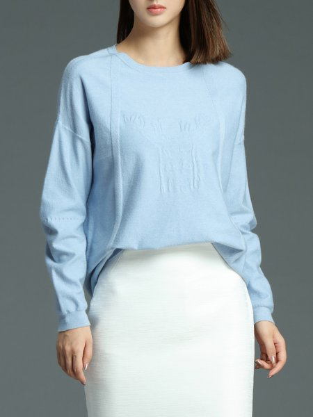Light Blue Plain Simple Knitted Sweater
