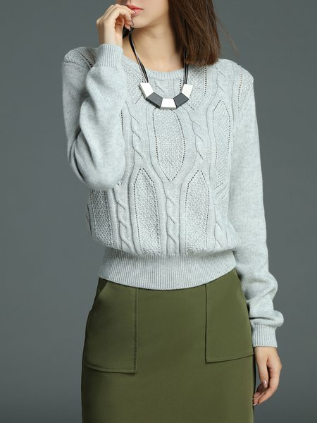 Gray Elegant Knitted Sweater
