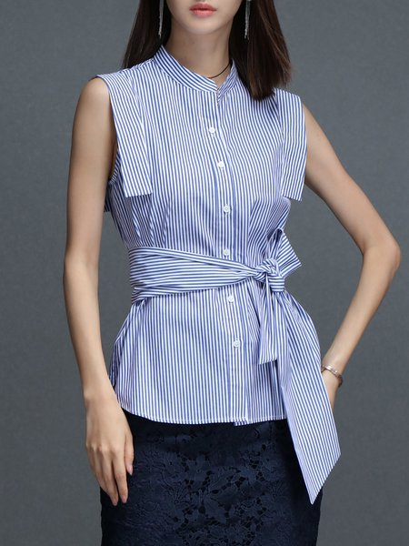 Blue Stripes Sleeveless Bow Blouse