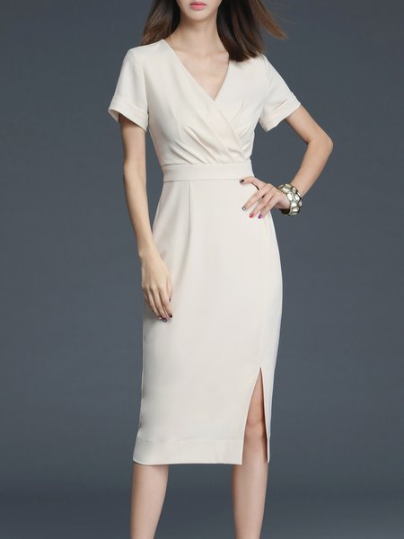 Beige Sheath Plain Short Sleeve Midi Dress
