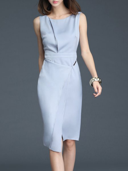 Light Gray Asymmetrical Elegant Midi Dress