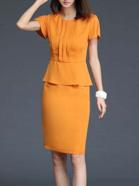 Orange Pleated Short Sleeve Crew Neck Midi Dress
