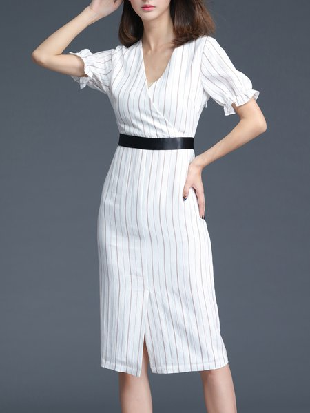 White Short Sleeve Sheath Stripes Midi Dress