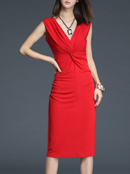 Red Sheath Gathered Polyester Sleeveless Midi Dress