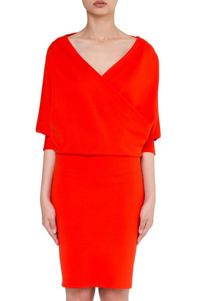 Red V Neck Simple Sheath Midi Dress