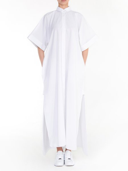 White Half Sleeve Cotton Slit Maxi Dress