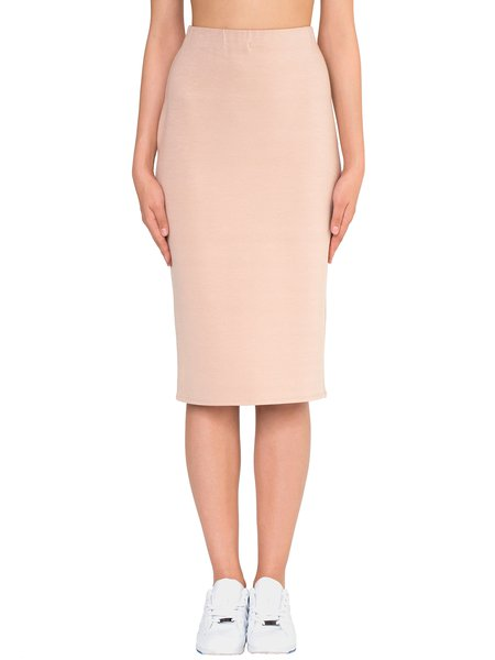 Nude H-line Viscose Simple Plain Midi Skirt