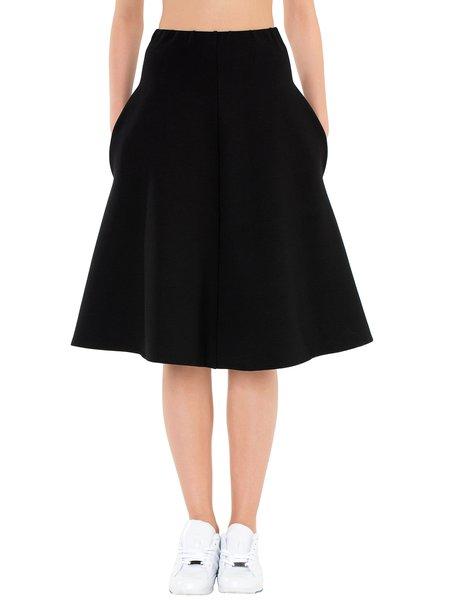 black simple viscose a line plain midi skirt stylewe