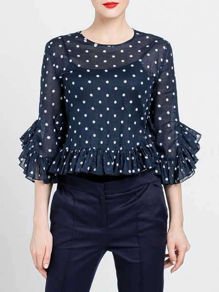 Navy Blue Polka Dots Statement Ruffled Blouse