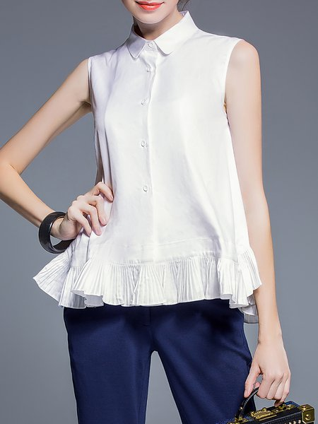 White Shirt Collar Cotton Sleeveless Blouse