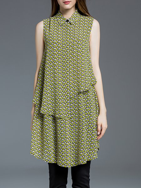 Yellow A-line Sleeveless Polyester Tunic