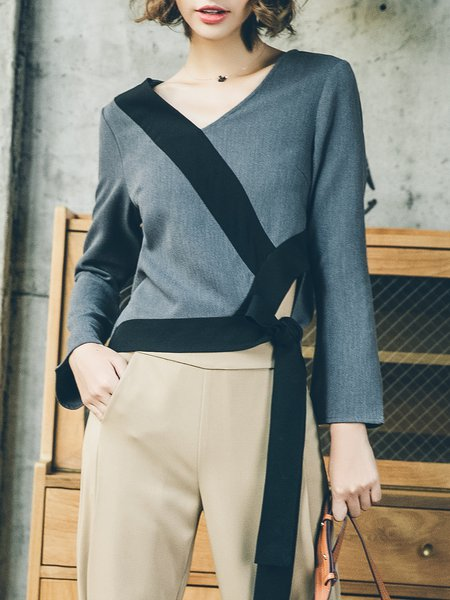 Deep Gray Plain Simple Color-block Cropped Top