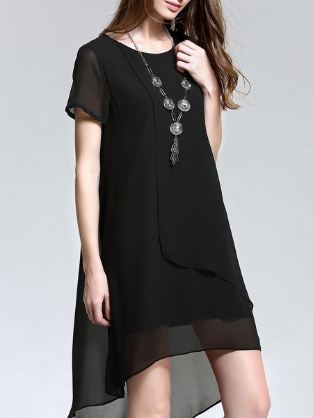Black Asymmetric Plain Short Sleeve Midi Dress