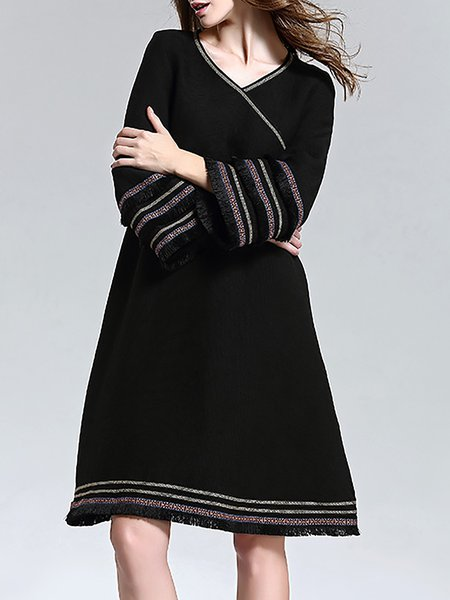 Black V Neck Long Sleeve Paneled Midi Dress