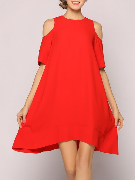 Red Half Sleeve Solid Cold Shoulder Midi Dress