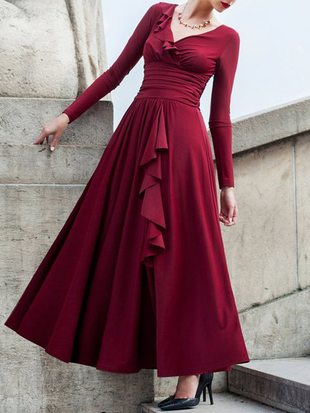 Burgundy Ruffled Long Sleeve Swing Ruched Solid Party Dress