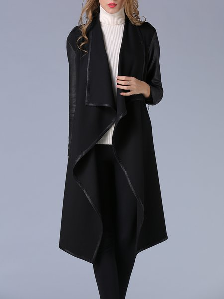 Black Binding Long Sleeve Asymmetrical Coat
