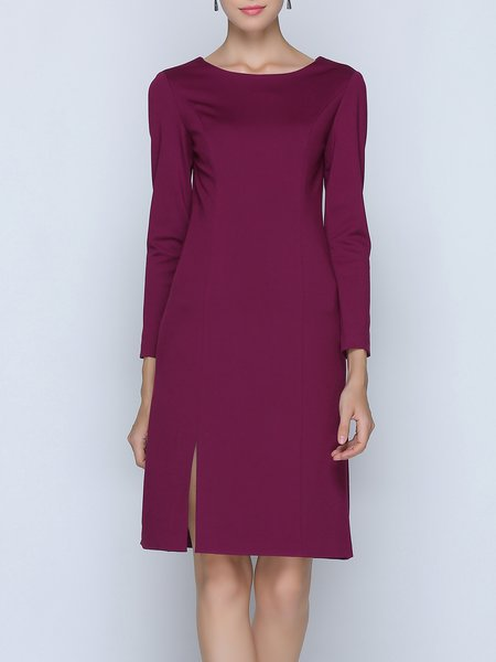 Burgundy Crew Neck Simple Midi Dress