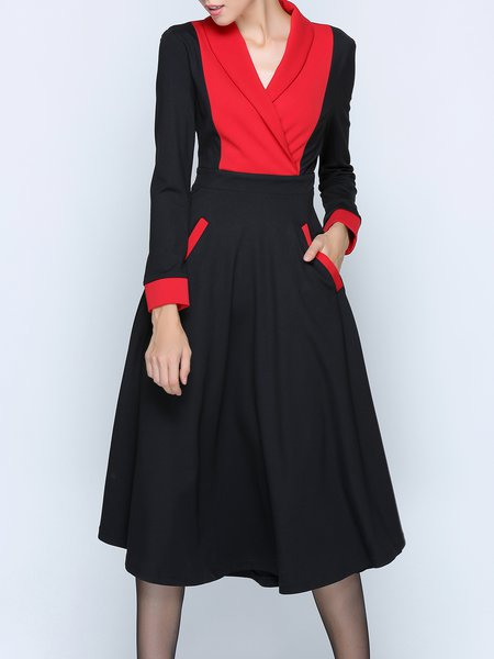 Black Gathered Color-block Swing Long Sleeve Midi Dress