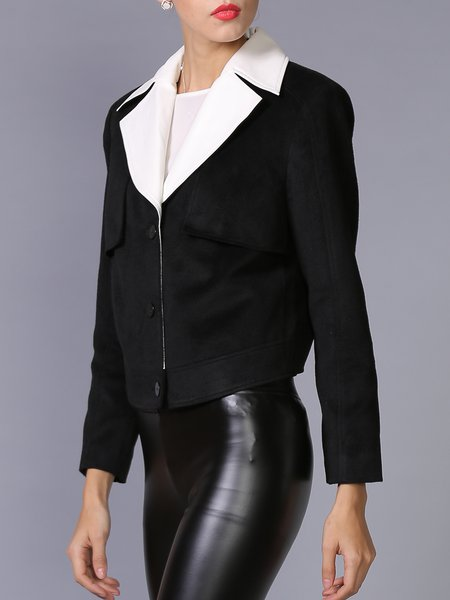 Black Lapel Color-block Long Sleeve Cropped Jacket