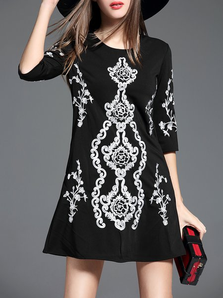 Black Casual Embroidered A-line Crew Neck Mini Dress