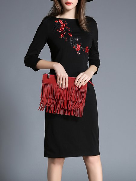Black Elegant Embroidered Paneled Bodycon Crew Neck Midi Dress